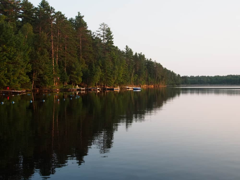 the shoreline at the campsite showing a section of the swimming area