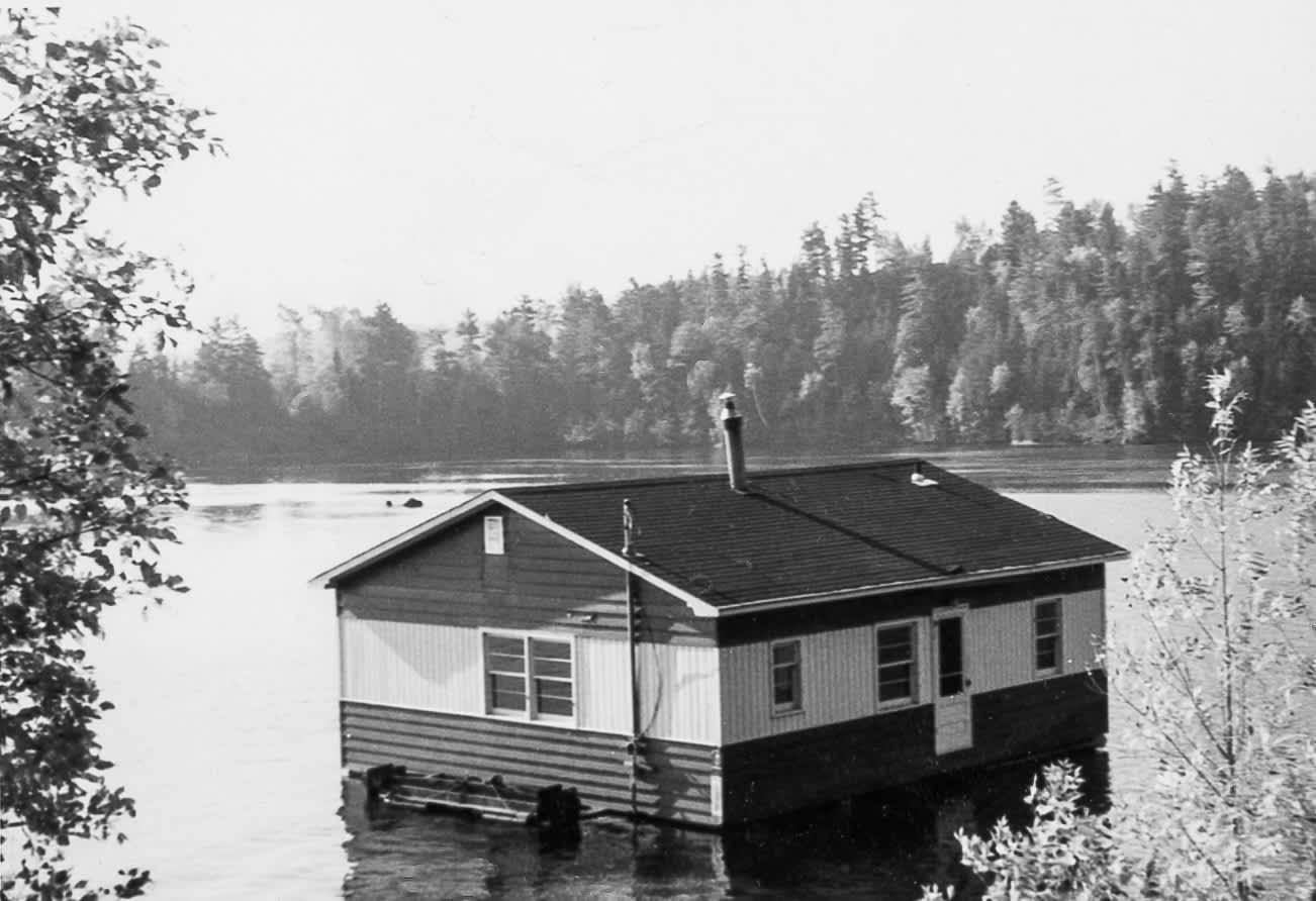 Mark and Mervyn Stubinsky's house floating on the madawaska river