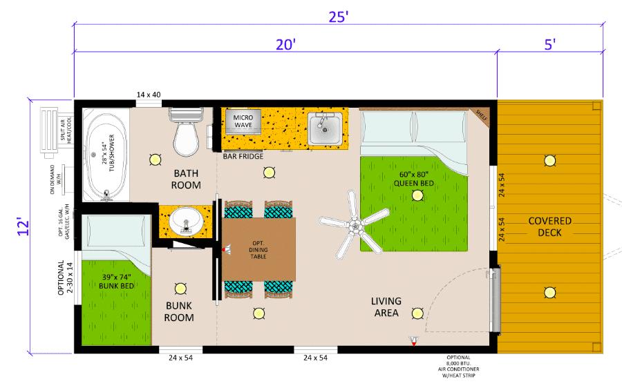floor plan of sunset point cabin