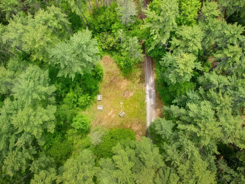 Aerial view of large group campsite at black donald tent and trailer park near calabogie ontario