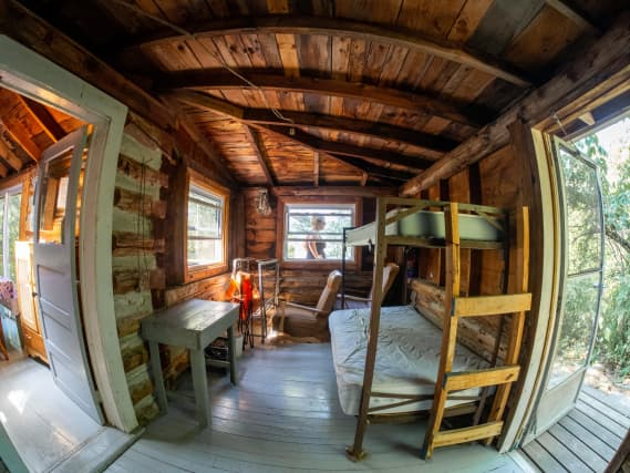 Norcan Lake cabin bunk room