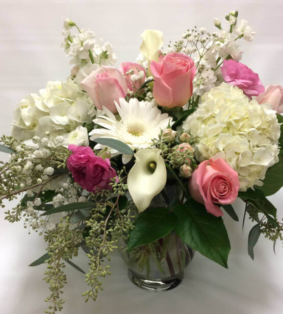 An image of a white and pink valentine's arrangement
