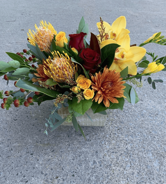 an image of a rustic fall floral arrangement