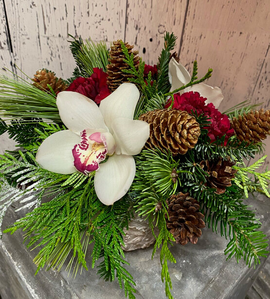an image of a Christmas arrangement with a large white orchid