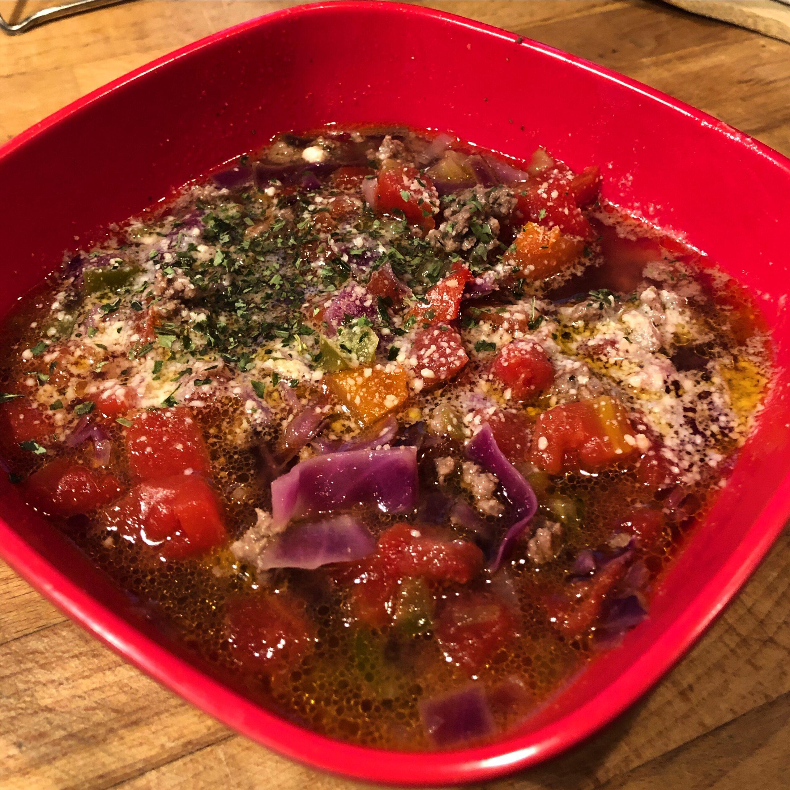 Veggie Burger Soup from Blue Dog Farm