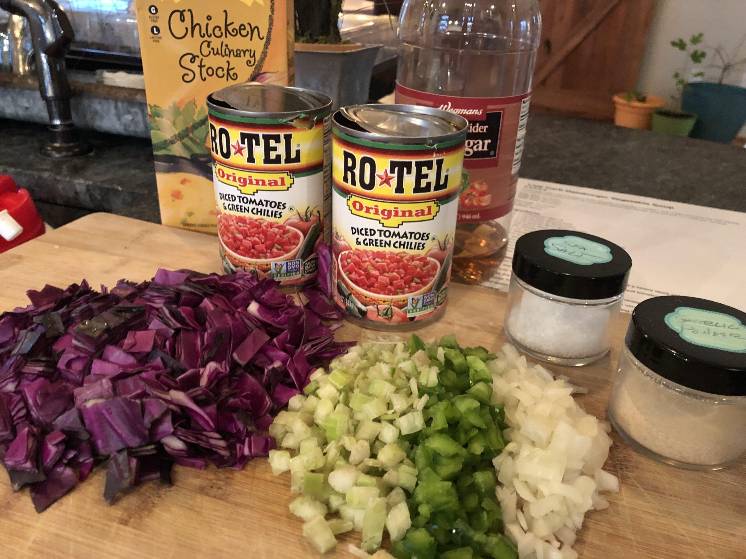 Ingredients for Veggie Burger Soup - Blue Dog Farm
