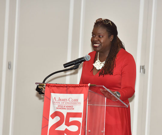 Odessa Phillip Speaks at the  OAEE A. James Clark School of Engineering 25th Anniversary Event