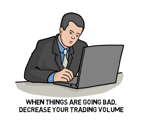 Stop Emotional trading―when things are going bad, decrease your trading volume
