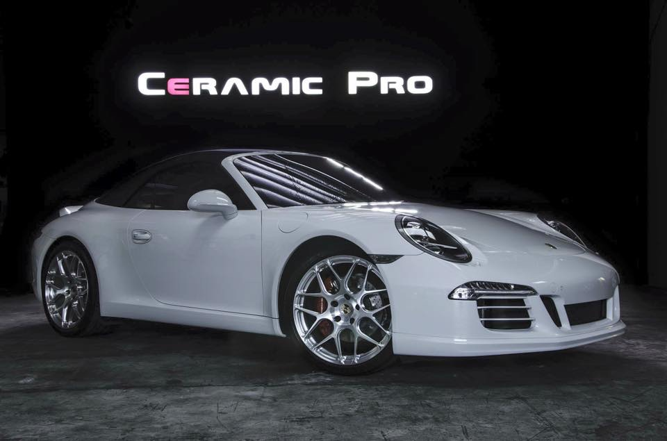 White Porsche coated in Ceramic Pro paint coating and protected with a Ceramic Pro warranty.