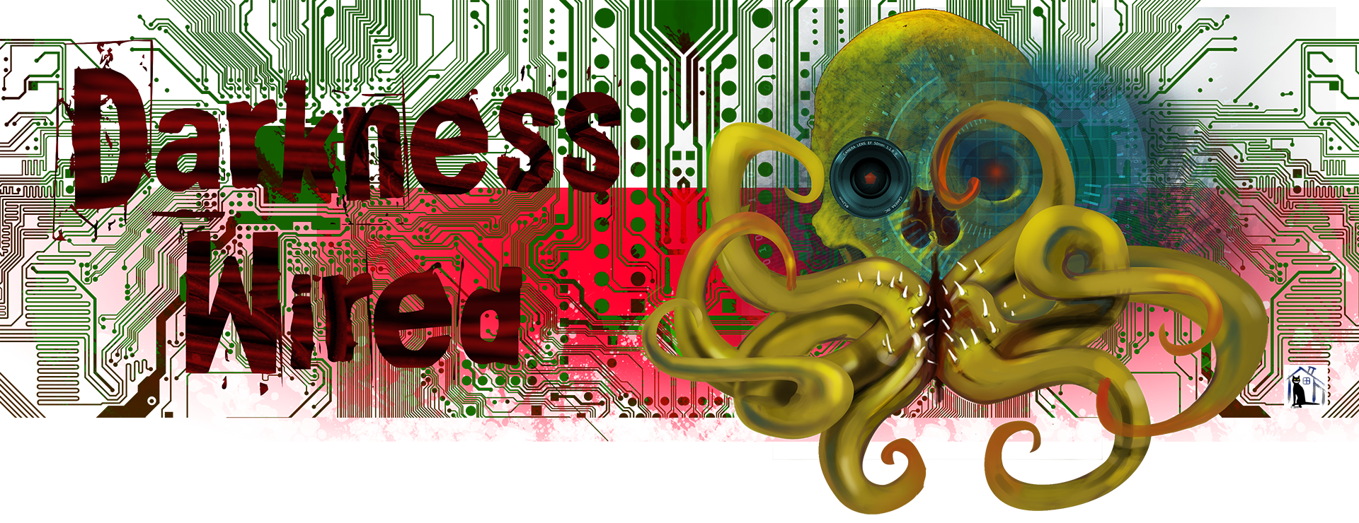 Abstract, surreal image of skull with tentacles and technical elements
