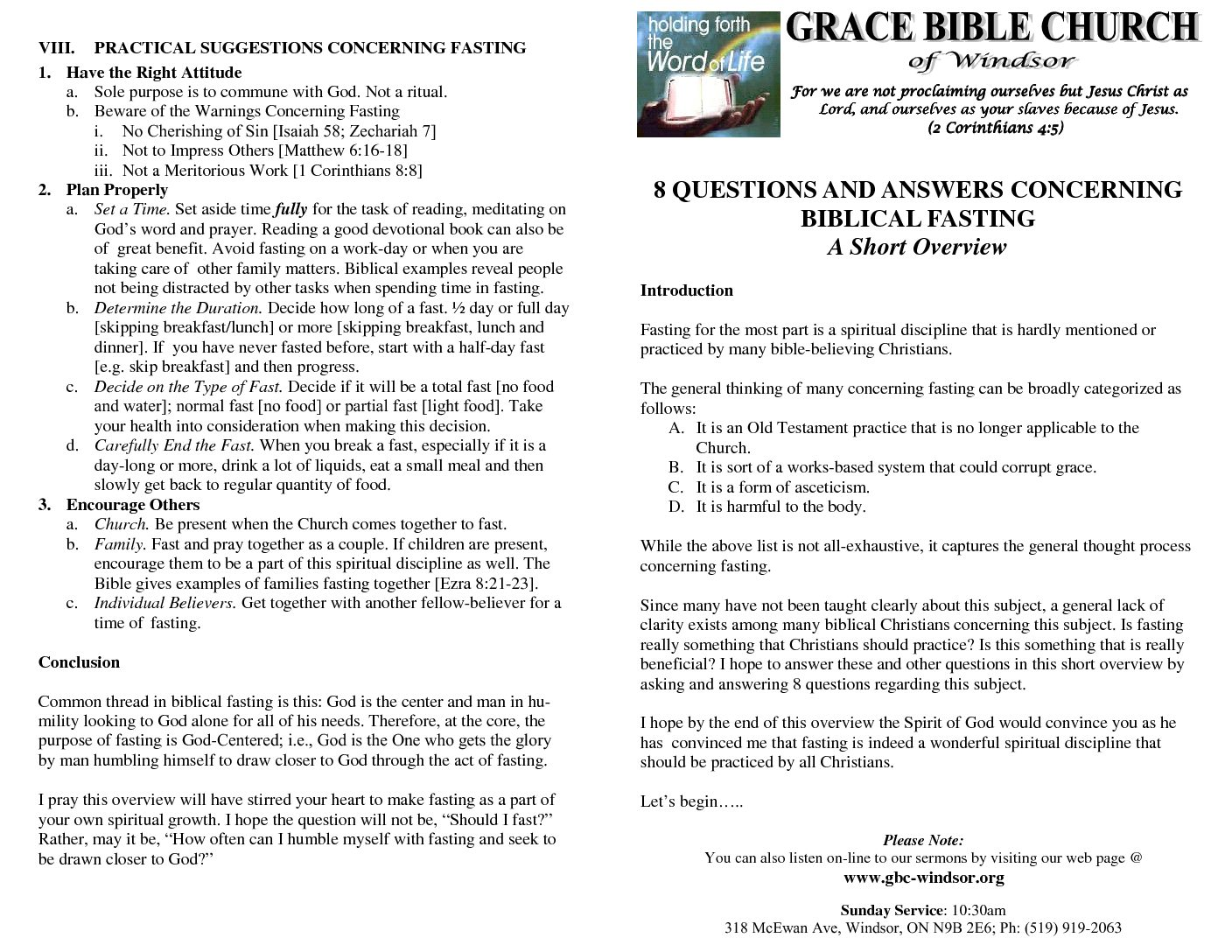 Grace Bible Church of Windsor 8 Questions and Answers