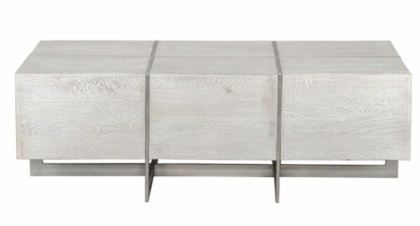 whitewash wood coffee table front view