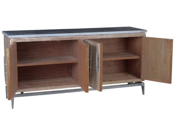 Cromwell Reclaimed Wood and Iron Sideboard with open doors