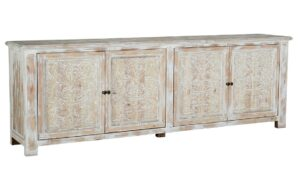 Whitewash Large Sideboard with Floral Carvings