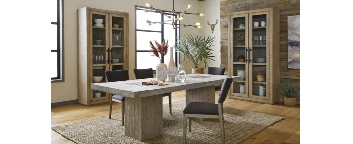 Dining room with rectangular table 2 chairs and 2 glass bookcases