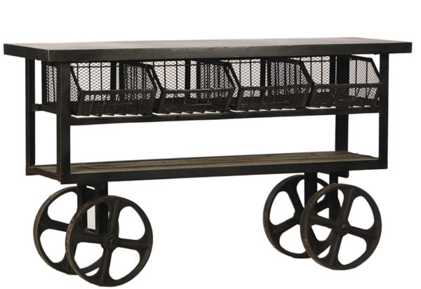 metal cart console table