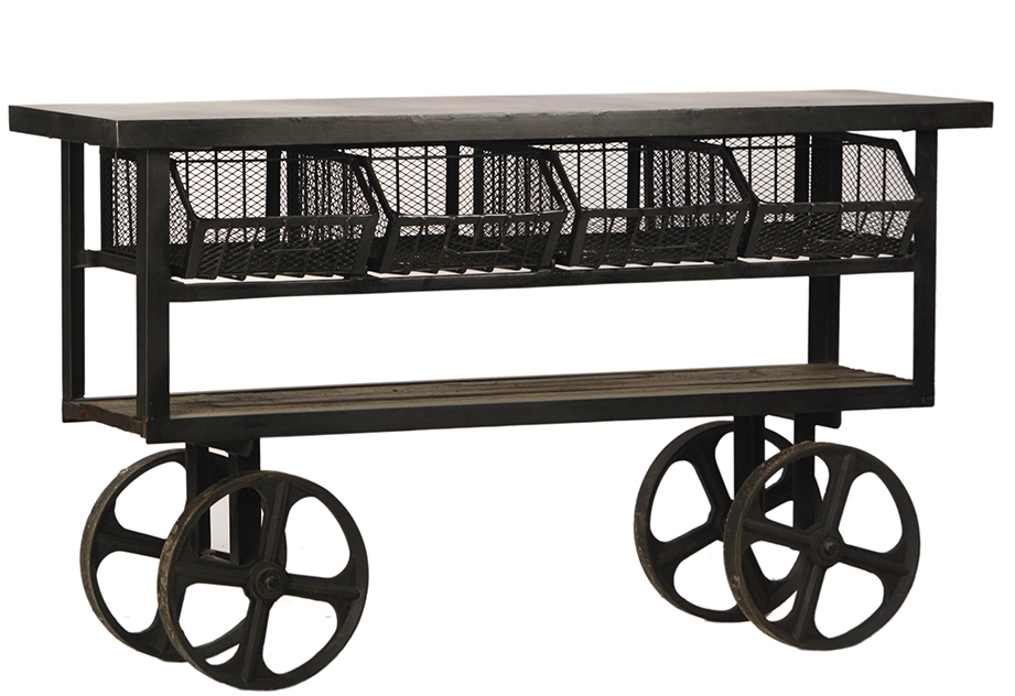 Industrial Metal and Wood Trolley Table