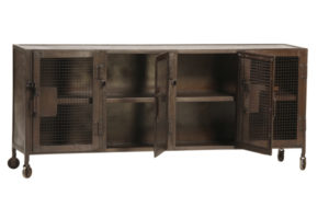 Kenter Industrial Iron Sideboard Cabinet with Mesh Doors