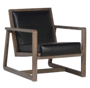 Vitan Leather and Oak Accent Chair (Set of 2)