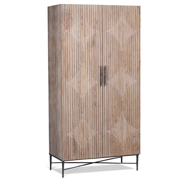 tall light washed wood cabinet