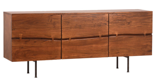 Modern wood sideboard with iron legs