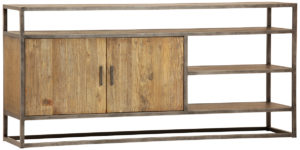 Low Steel And Wood Media Console With Storage