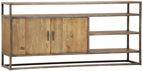 Iron and wood low media console with open shelves and storage