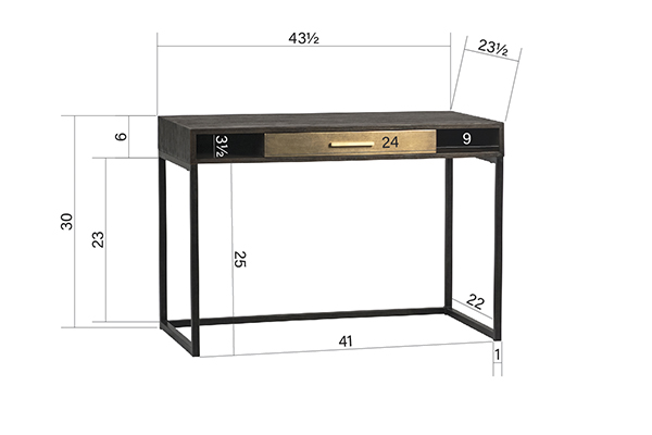Small black desk with one drawer meaurements