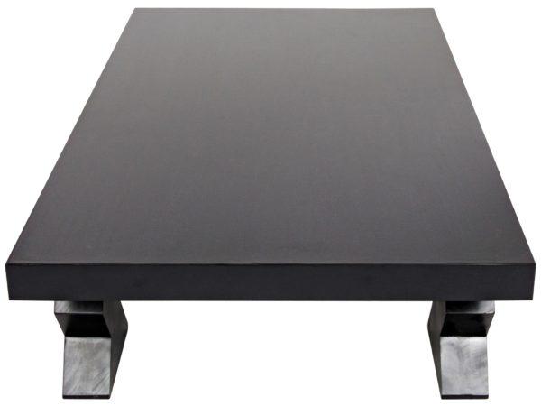black wood coffee table top view