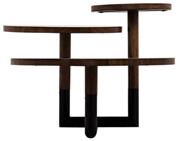 wood circular coffee table side view
