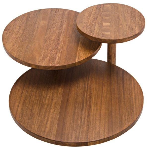 wood circular coffee table top view