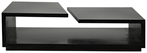 rectangular black wood coffee table