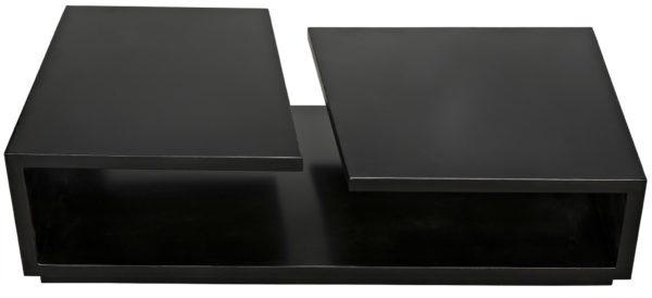 rectangular black wood coffee table top view