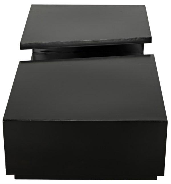 rectangular black coffee table top view