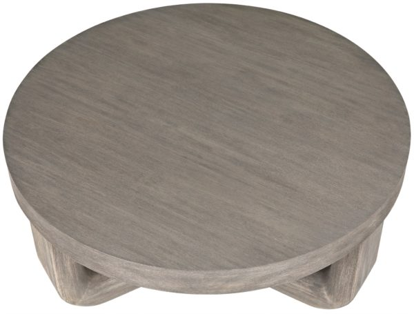 grey wood coffee table top view