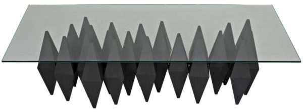 black metal base glass coffee table