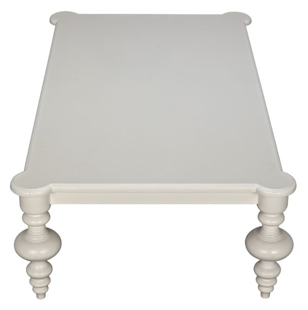 white wood coffee table top view