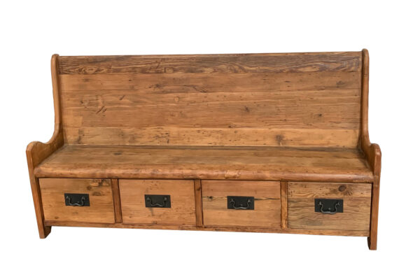 tall back wood bench with 4 drawers front view