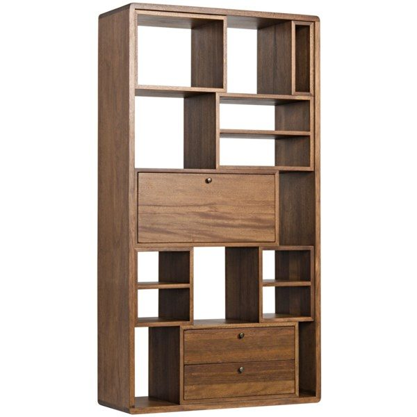 natural walnut wood bookcase side view