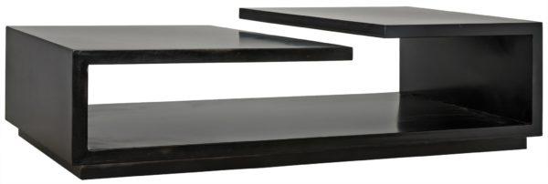 rectangular black coffee table
