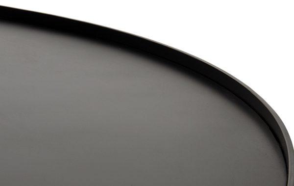 black round woodd coffee table close up