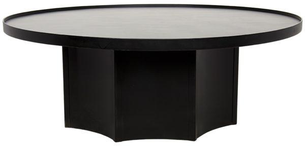 black round wood coffee table