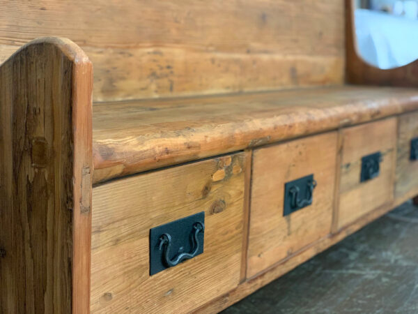 tall back wood bench with 4 drawers close up