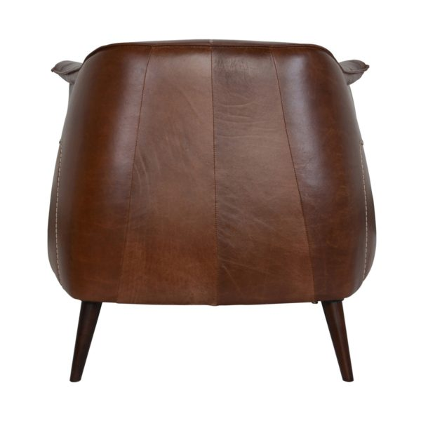 medium brown leather chair back view