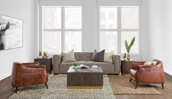 medium brown leather chair in living room setting