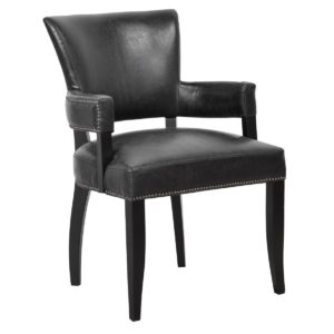 Ronan Black Vegan Leather Armchair  (Set of 2)