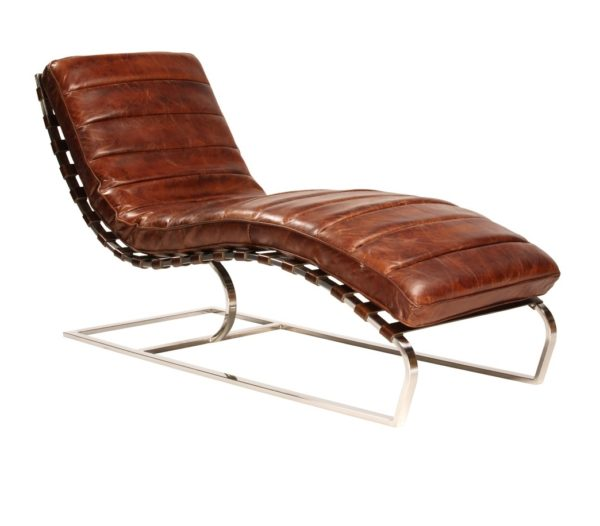 brown leather chaise with chrome legs