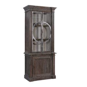 Grey Wash Vitrine Cabinet with Metal Detail