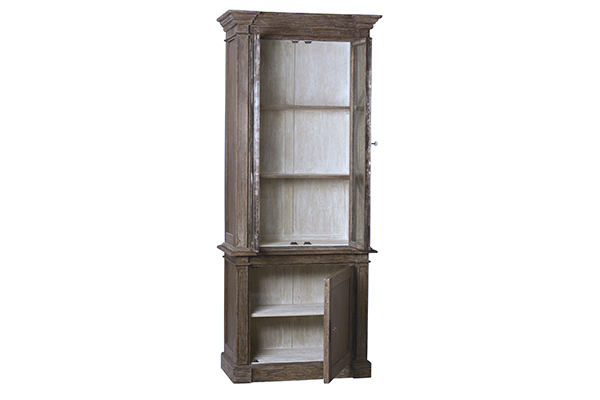 Slim tall vitrine wood and metal with opened doors