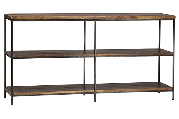 Iron and wood open bookcase